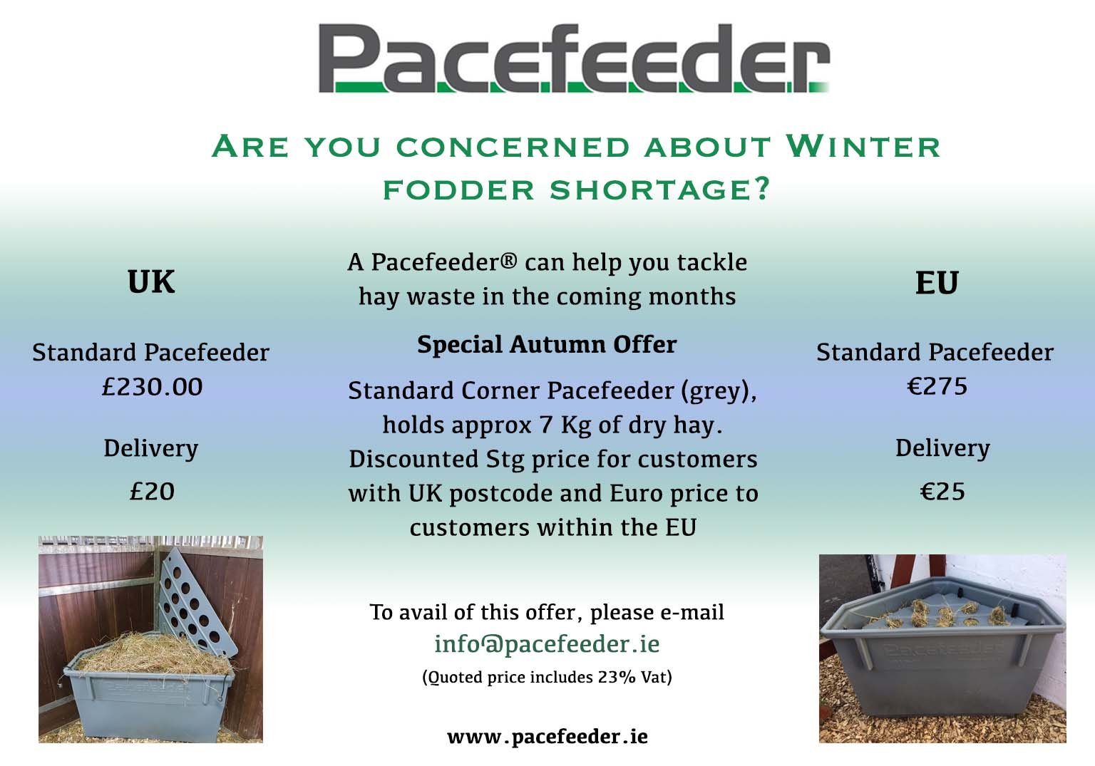 Summer UK and EU Promotion 2 1 Pacefeeder: The Natural and Healthy Way to Feed Horses!